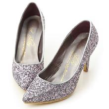 滿滿亮片美型尖頭高跟鞋 優雅紫