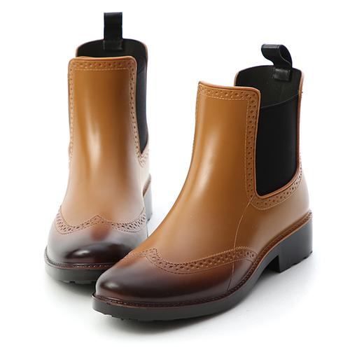 D+AF 英倫質感.仿舊刷色切爾西雨靴
