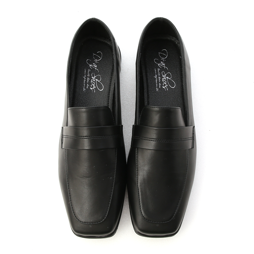 Stitching Square Toe Loafers Black