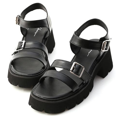 歐美風潮.雙帶釦環厚底羅馬涼鞋