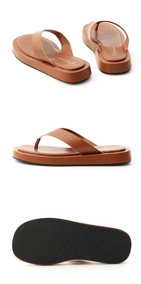 沙灘漫步.人字寬帶夾腳厚底拖鞋 潮流棕