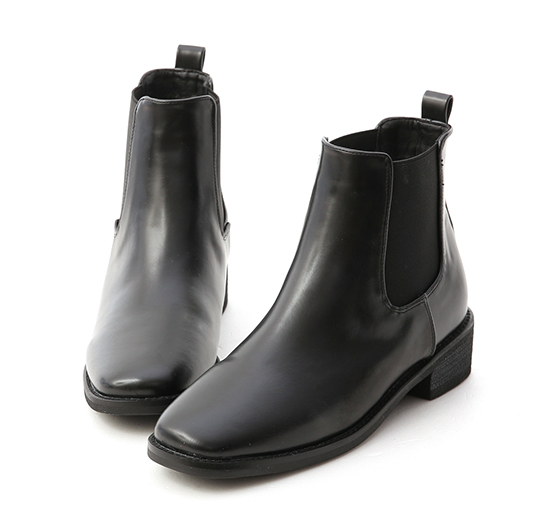 スクエアトゥチェルシーローヒールブーツ ブラック