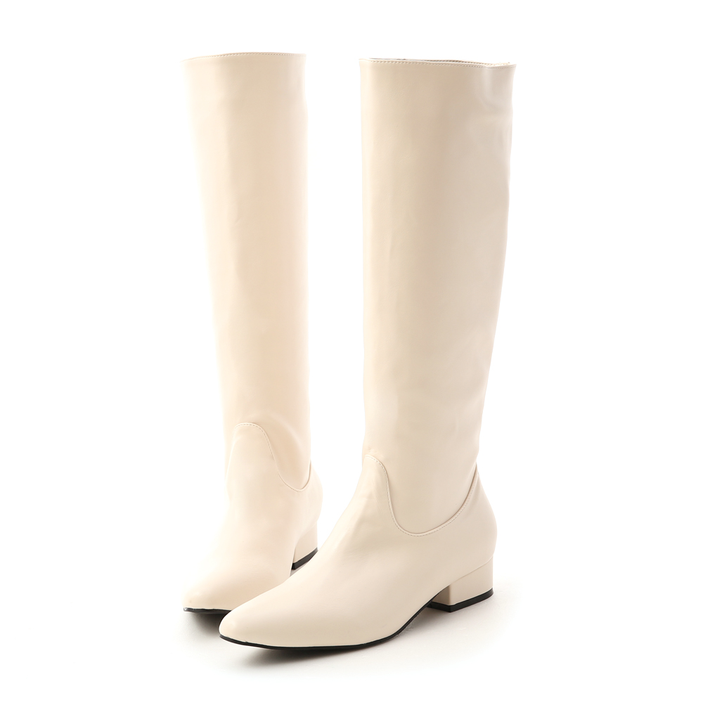 Pointed Toe Low Heel High Boots Off-white