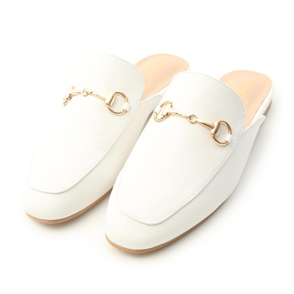 Elegant Horsebit Flat Mules White