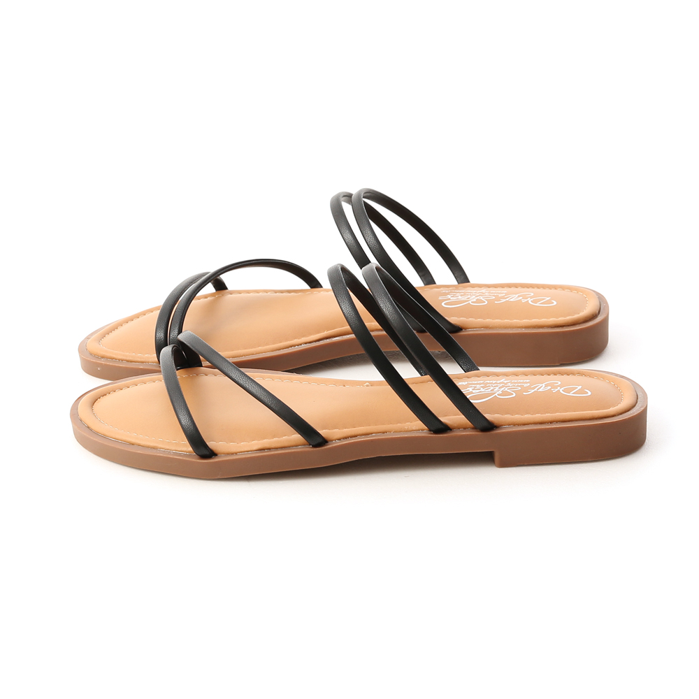 Strappy Cushioned Sandals Black