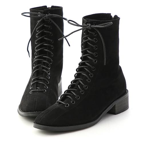 D+AF 個性有型.綁帶絨料方頭低跟短靴