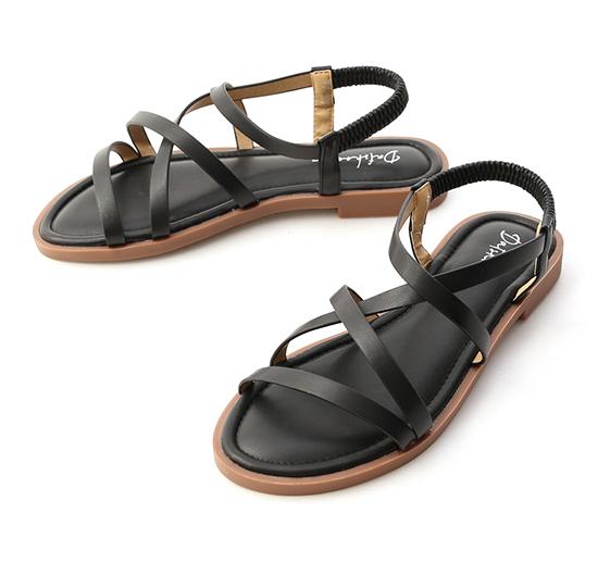 微甜色調.交叉細帶軟Q底涼鞋 時尚黑
