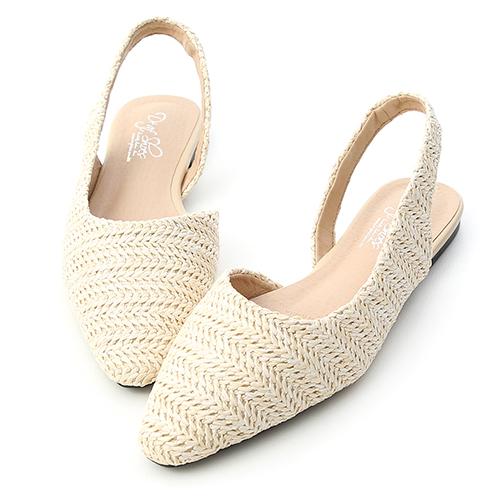 沁涼自在.草編鞋面平底後空鞋