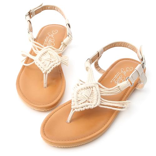 D+AF 繆思女神.精緻手工針織夾腳涼鞋