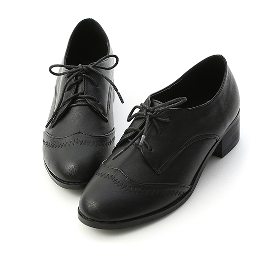Stitch Detail Mid Heel Oxford Shoes Black