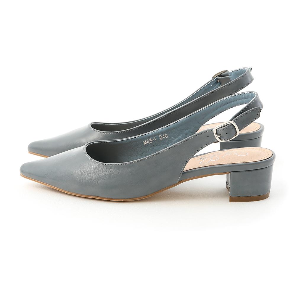 甜彩春氛.素面尖頭後空中跟鞋 迷霧藍
