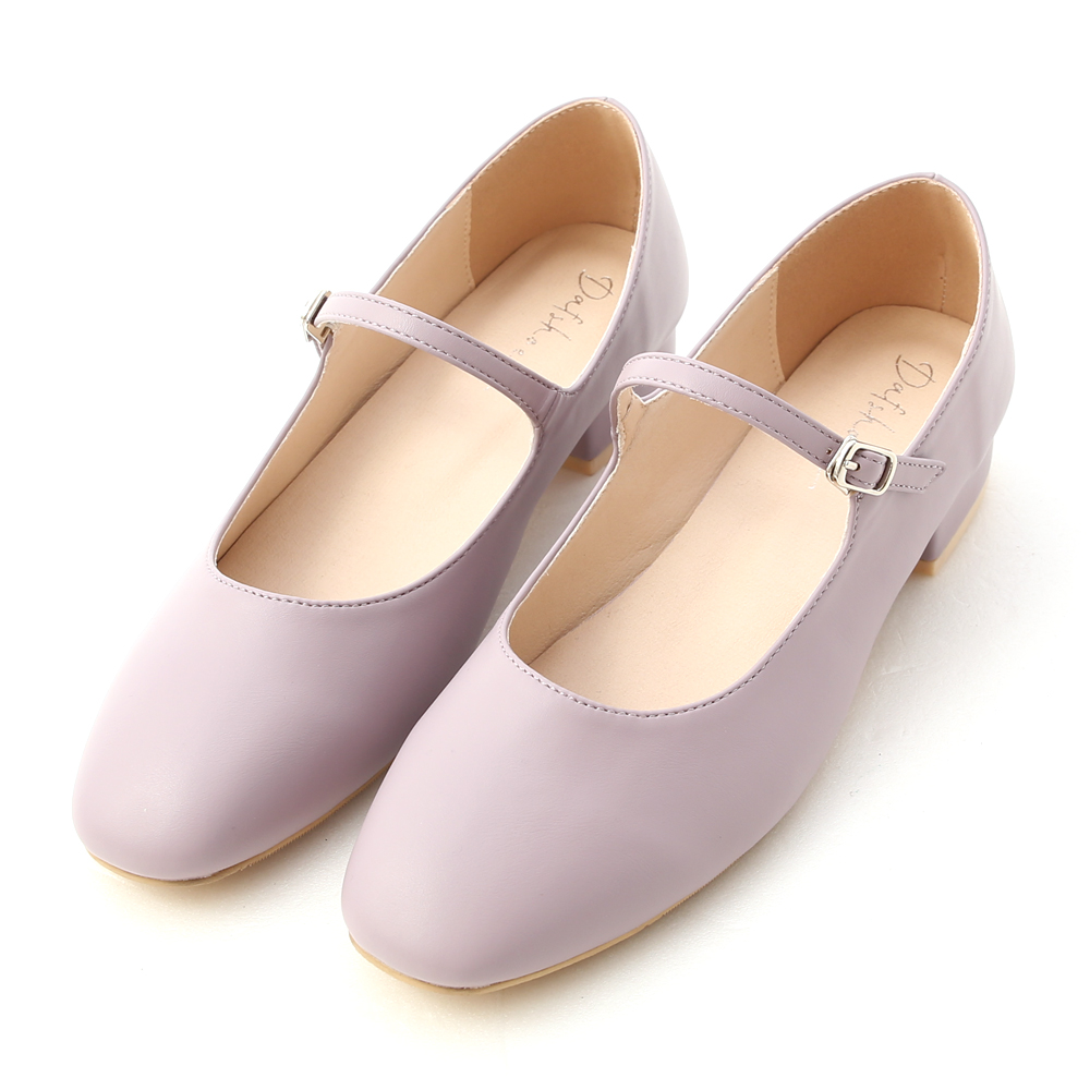 Round Toe Strappy Low Heel Mary Jane Shoes Lavender