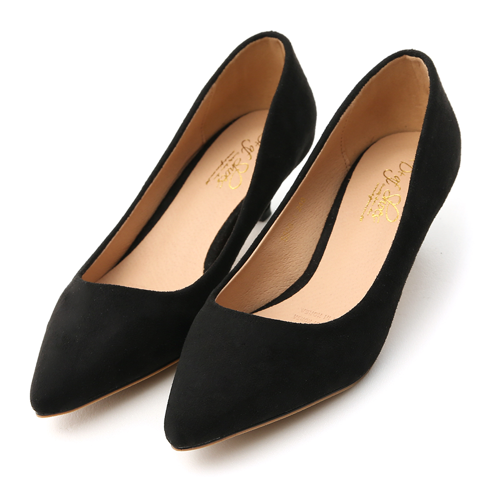 Plain Faux Suede Pointed Toe Low Heels Black