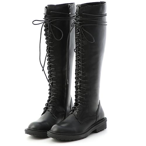 D+AF 街拍潮模.圓頭綁帶長筒馬汀靴(黑)