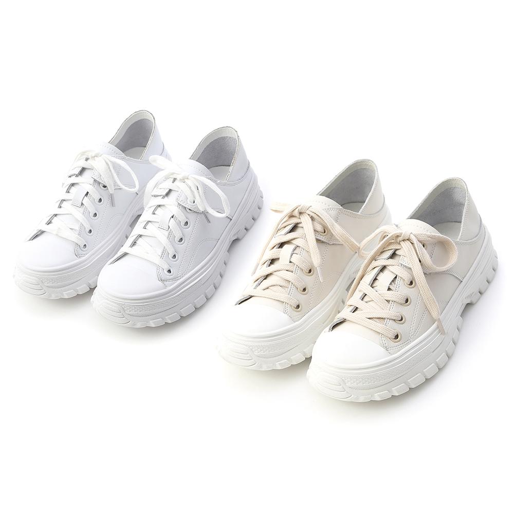 舒活日常.可後踩真皮綁帶休閒鞋 人氣白