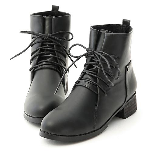 D+AF 街頭個性.綁帶設計低跟軍風短靴