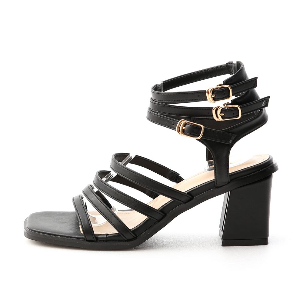 希臘女神.多層次環釦羅馬涼鞋 時尚黑