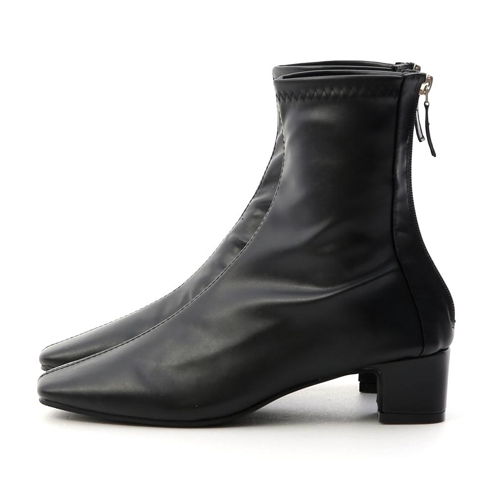 Square Toe Back Zip Sock Boots Black