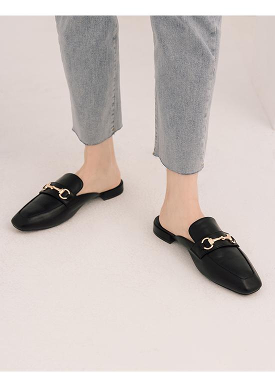 Horsebit Square Toe Low Heels Mules Black