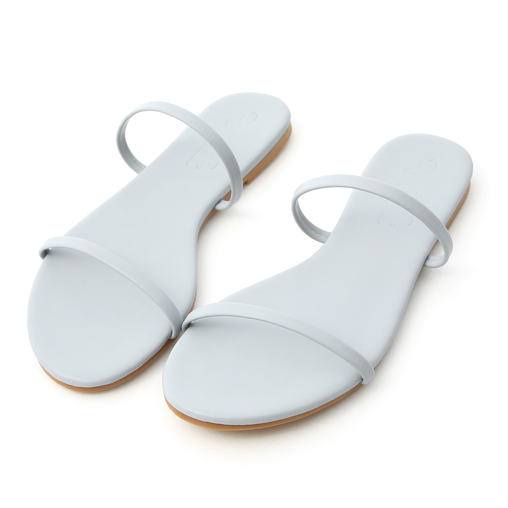 清涼夏日.二條細帶平底涼拖鞋 天空藍