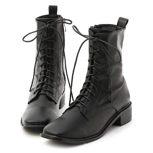 秋冬嚴選.復古方頭低跟綁帶短靴