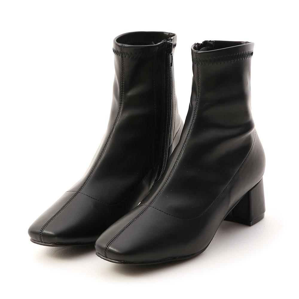 秋冬定番.素面合腿中跟方頭襪靴 時尚黑