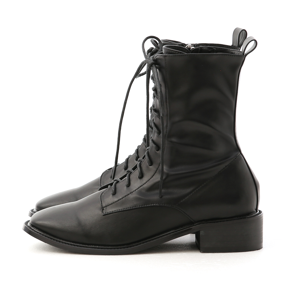 秋冬嚴選.復古方頭低跟綁帶短靴 時尚黑