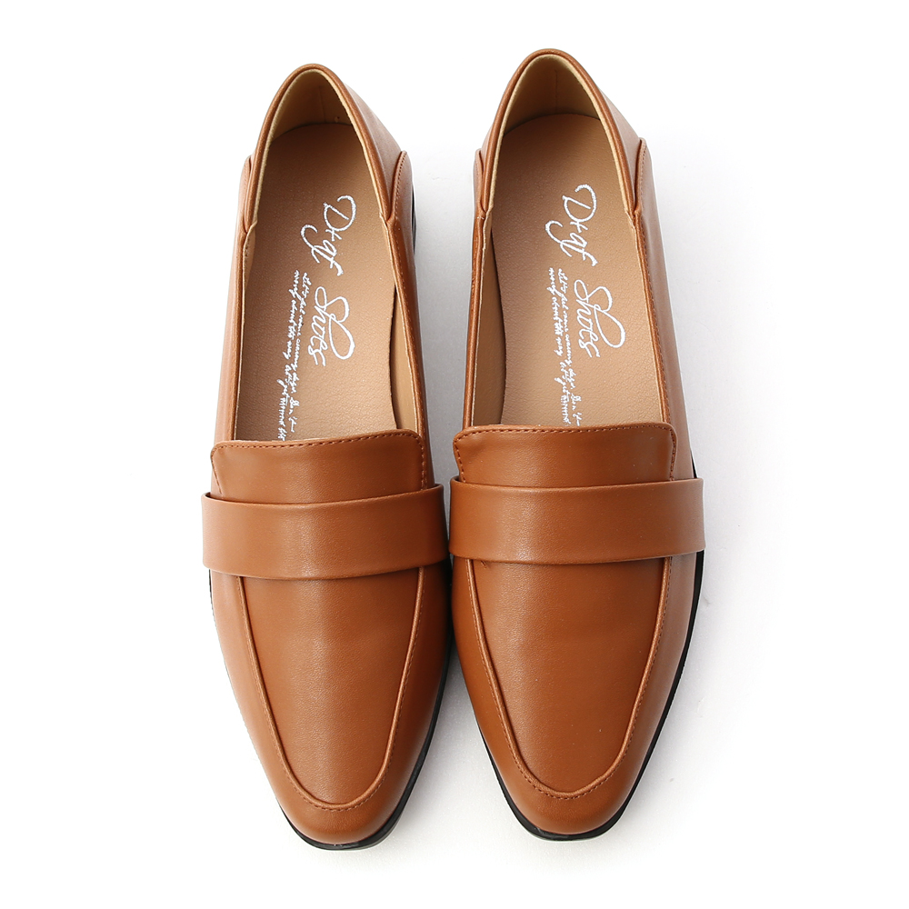 簡約品格.可後踩尖頭樂福鞋 焦糖棕