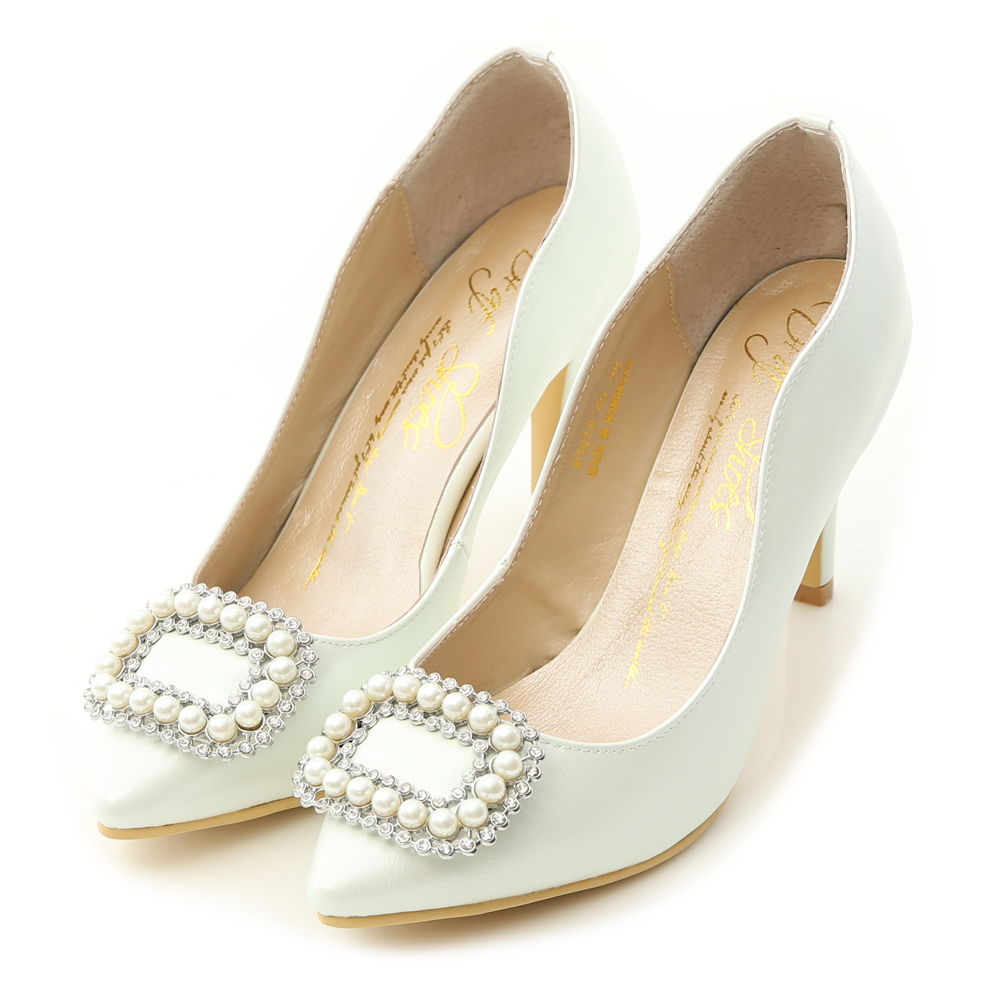 水鑽珍珠飾釦美形高跟鞋 珍珠白