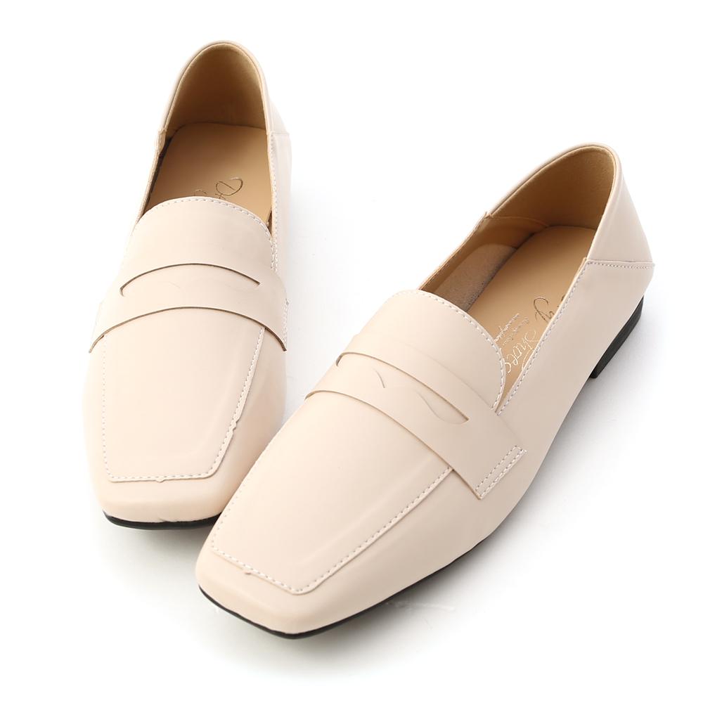 紳士印象.超軟皮革方頭樂福鞋 香草米