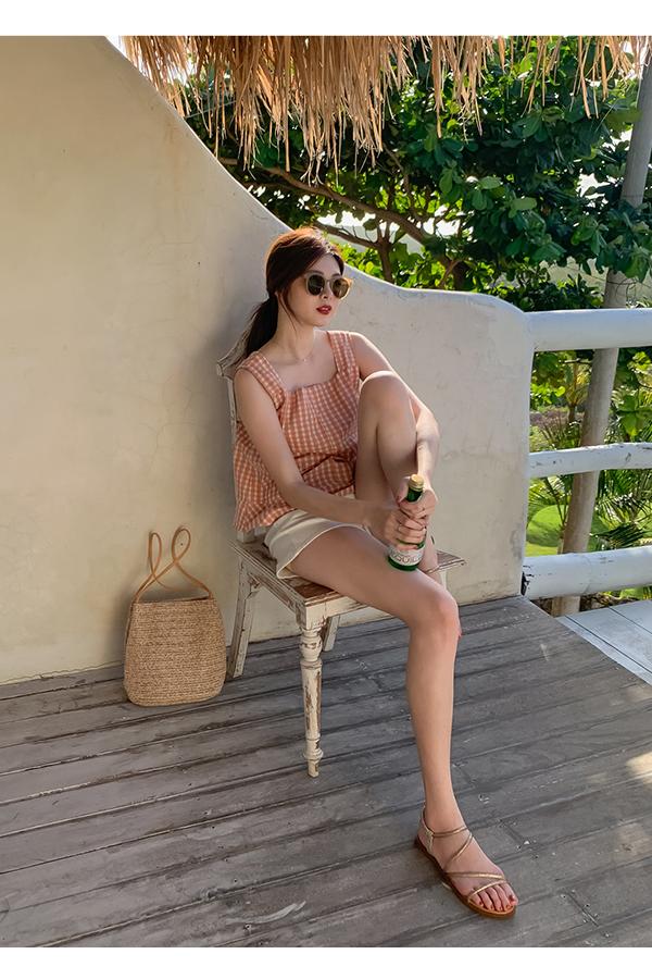 閃耀假期.燙鑽細帶繫踝平底涼鞋 香檳金