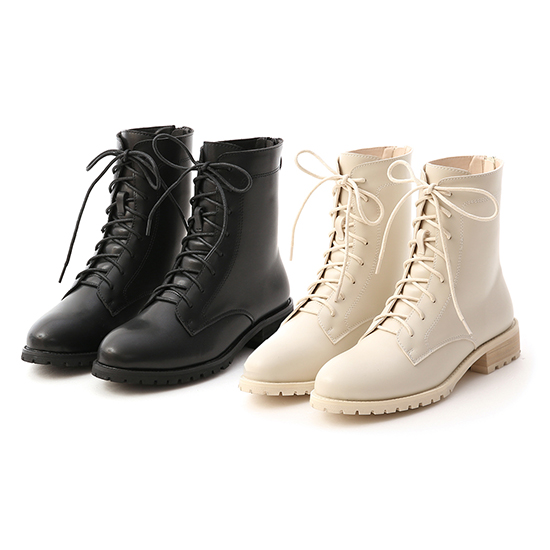 Back Zipper Lace-Up Mid-Tube Boots Off-white