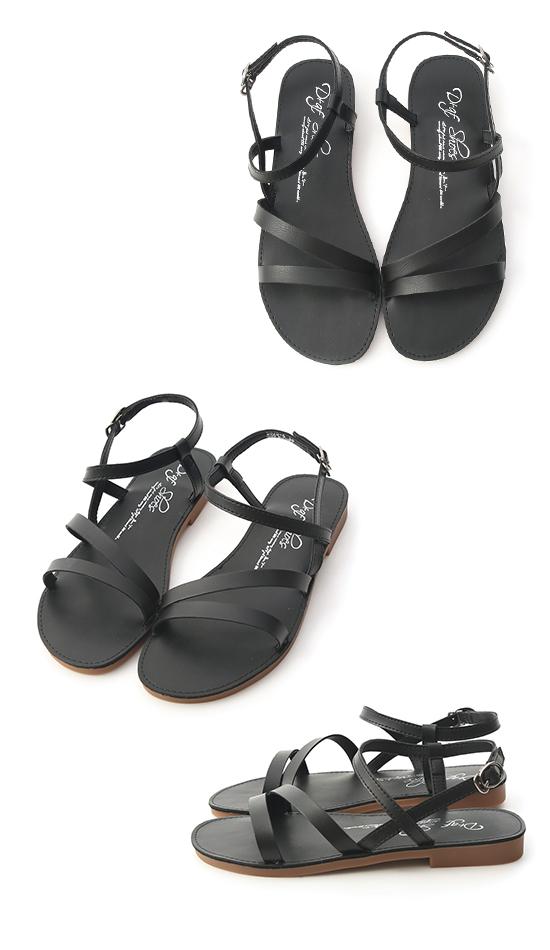 午後漫步.斜帶繞踝超軟平底涼鞋 時尚黑