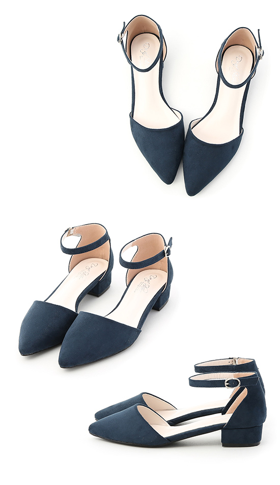 Pointed Toe Mary Jane Shoes Blue
