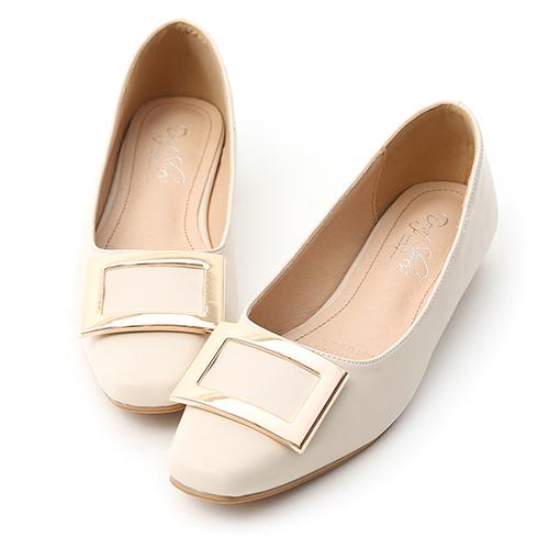 典雅美型.大方釦微方頭娃娃鞋