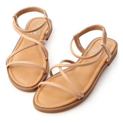 清涼一夏.交叉細帶平底涼鞋