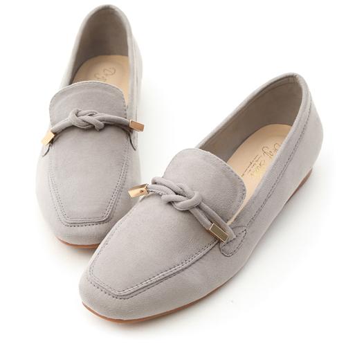 D+AF 秋氛輕著.小金飾綁結絨料樂福鞋