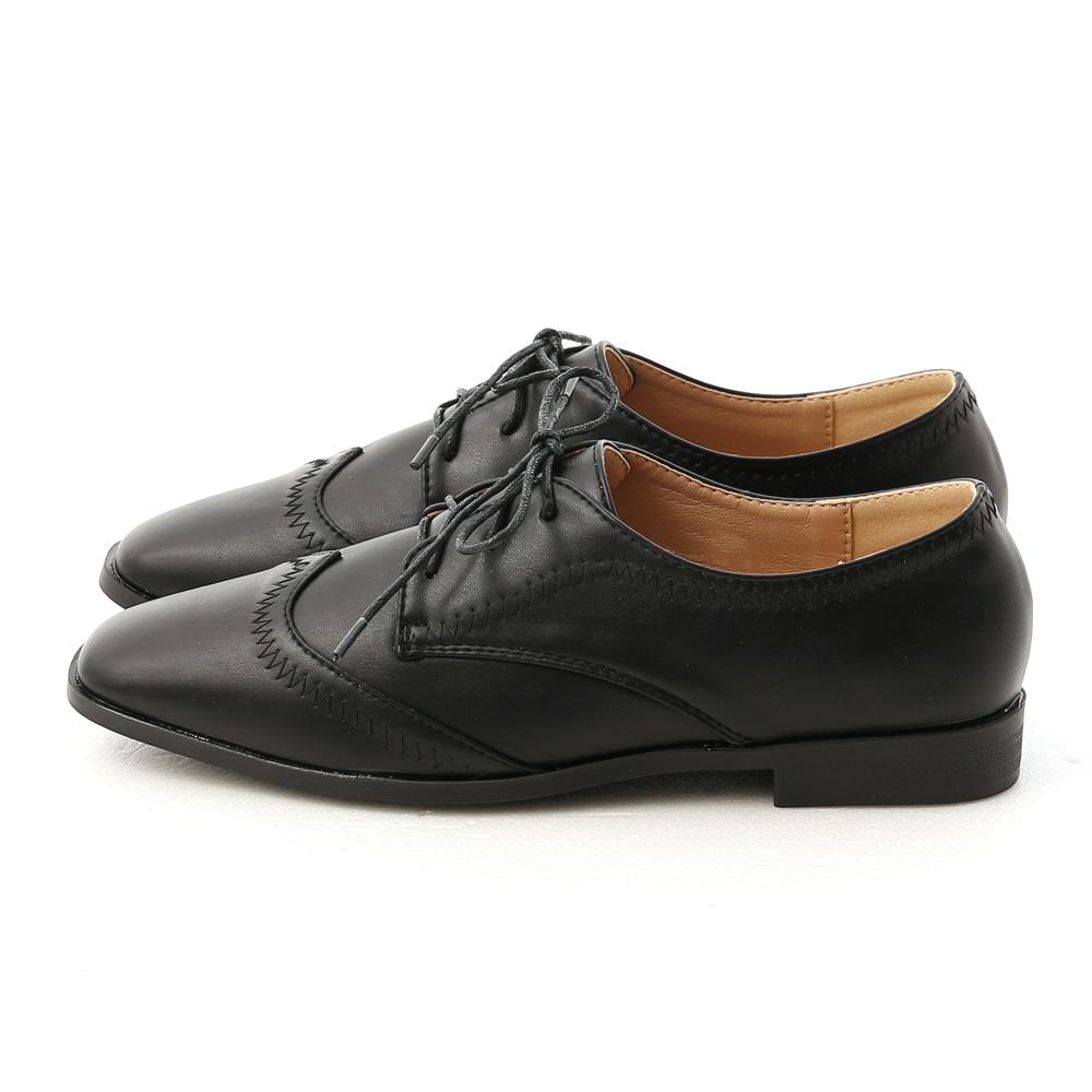 紳士主張.拷克車線綁帶牛津鞋 時尚黑