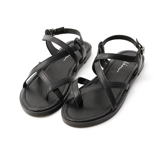率真印象.交叉套指平底涼鞋 時尚黑
