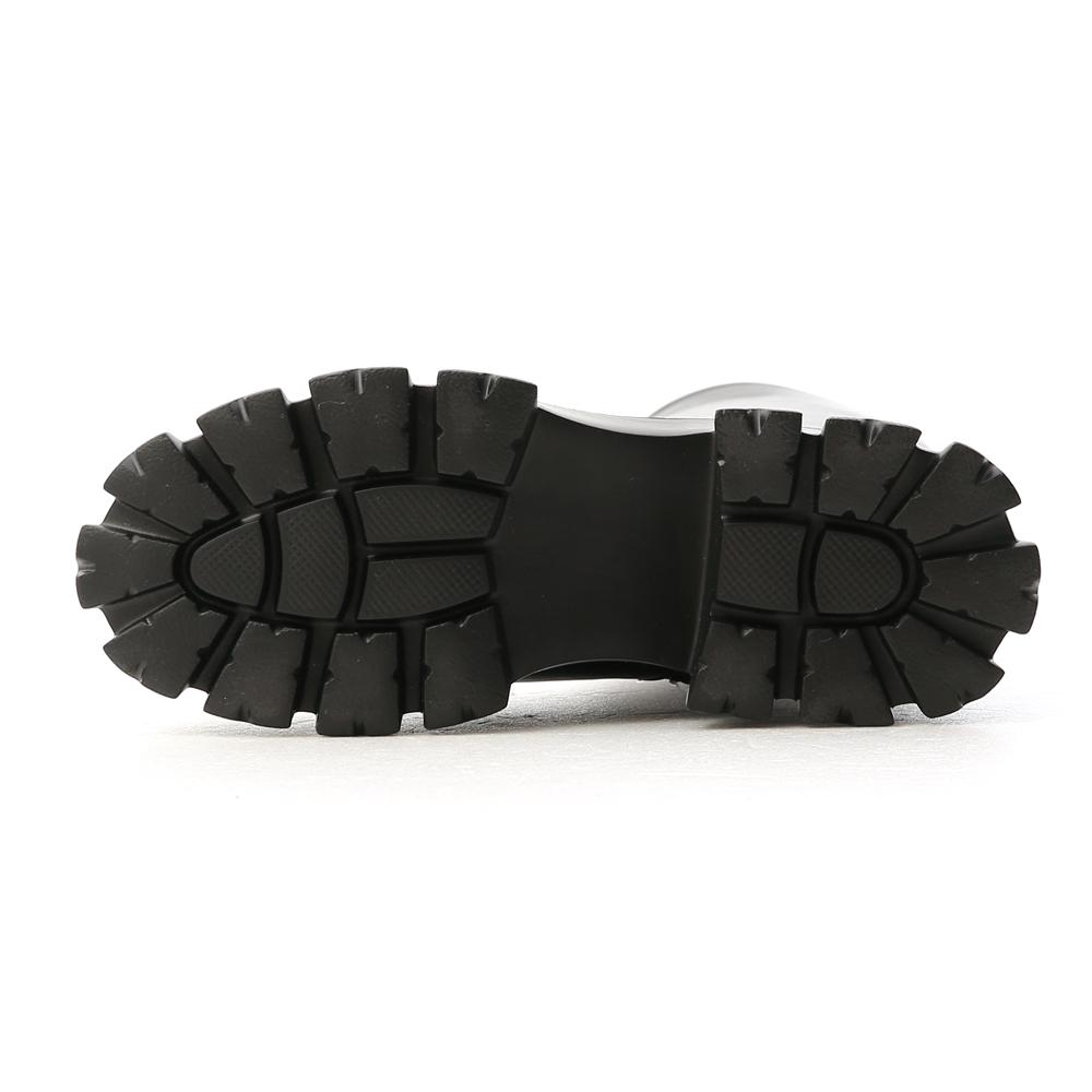 Plain Zigzag Tall-Boots Black
