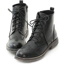 D+AF 英倫風潮.復古雕花綁帶牛津短靴