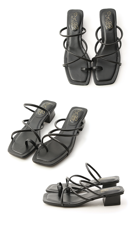 Square Toe Strappy Toe Loop Sandals Black