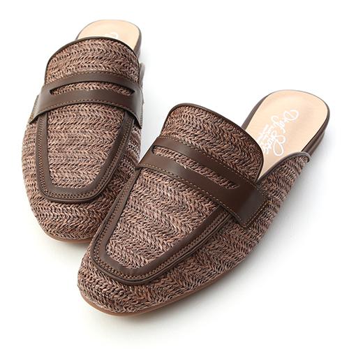 愜意氛圍.草編拼接平底穆勒鞋