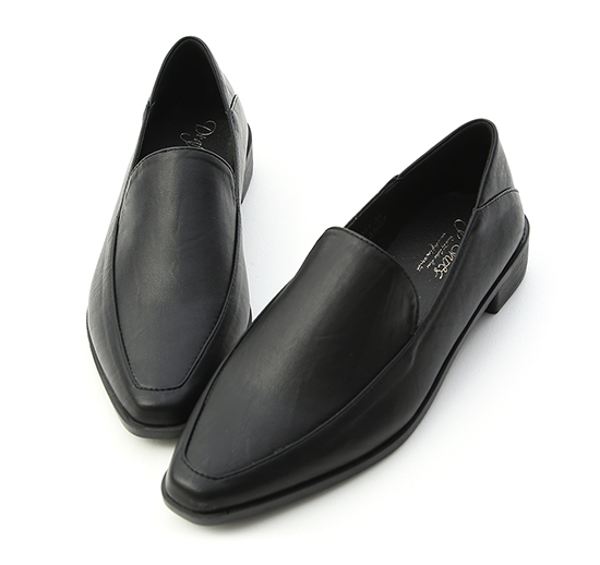 Faux Leather Fold Back Loafers Black