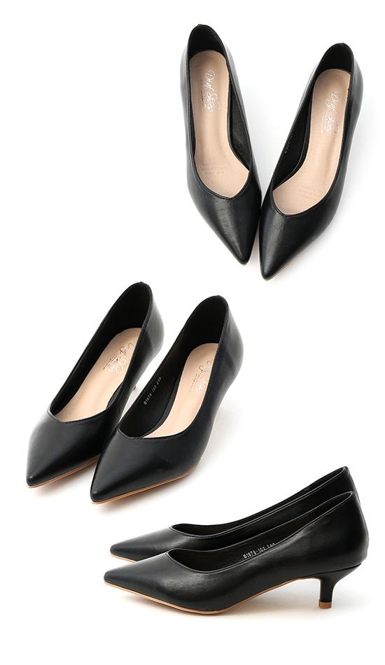V-Cut Pointed Toe Mid Heels Black