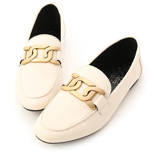 皇家金釦.金色飾釦平底樂福鞋