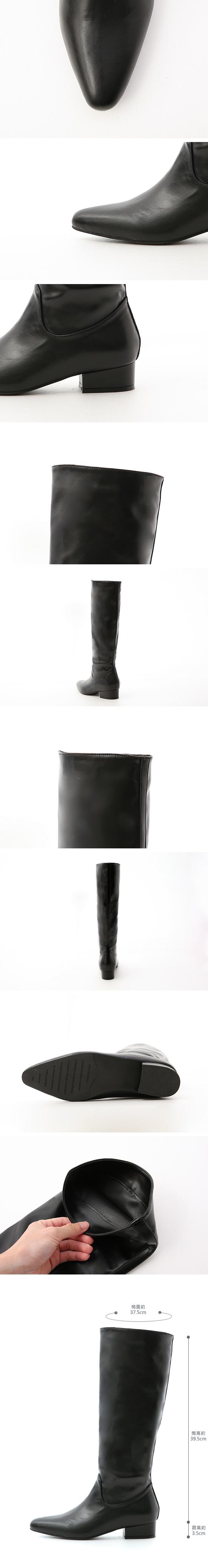 ポインテッドトゥハイブーツ ブラック