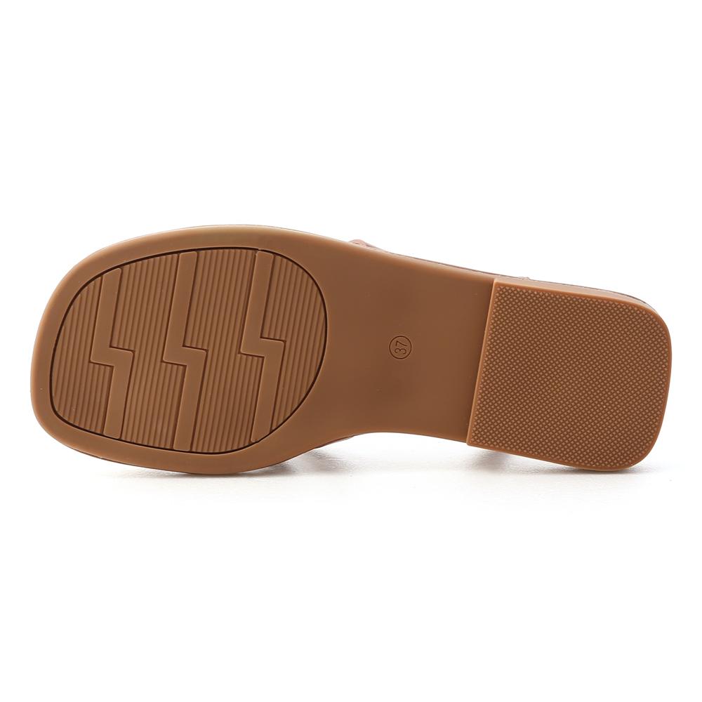 野餐派對.雙帶交叉編織涼鞋 焦糖棕