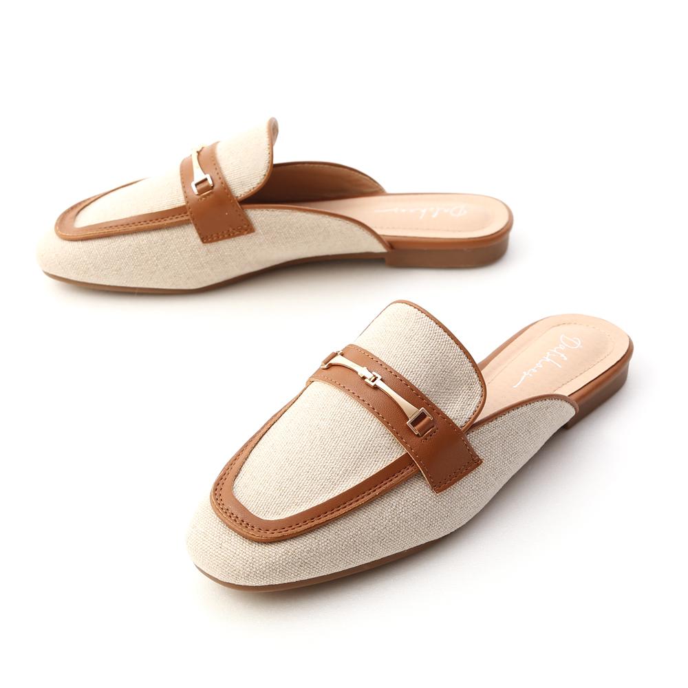 愜意經典.馬銜釦拼接平底穆勒鞋 焦糖棕