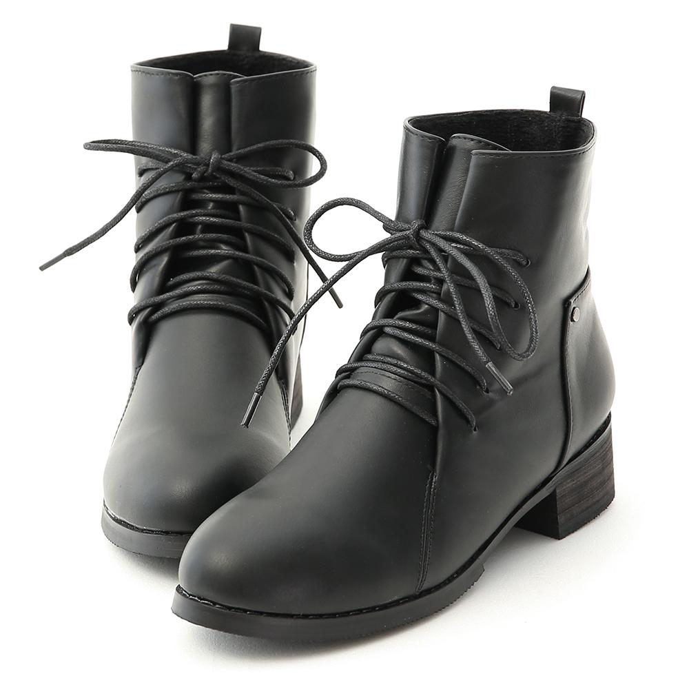 街頭個性.綁帶設計低跟軍風短靴 時尚黑